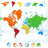 Detailed vector World map with colorful continents and 3D globes Royalty Free Stock Photo