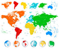 Detailed vector World map with colorful continents. Political boundaries, country names and 3D globes Stock Photos