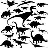 Detailed Vectoral Dinosaur Silhouettes. 19 pieces of detailed vectoral dinosaur silhouettes. Jpeg involves silhouette paths. Illustrator .ai file included Royalty Free Stock Photos