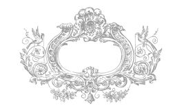 Detailed Victorian Floral Frame. A detailed rame set in a symmetrical victorian floral design. Fully scalable vector illustration royalty free illustration