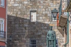 Free Detailed View At The Lateral Facade Of The Cathedral Of Viseu And D. Duarte Statue Royalty Free Stock Photo - 148372195