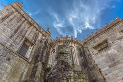 Detailed view at the back facade of the Cathedral of Viseu. Viseu / Portugal - 04 16 2019 : Detailed view at the back facade of the Cathedral of Viseu, S royalty free stock photography