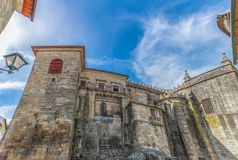 Detailed view at the back facade of the Cathedral of Viseu. Viseu / Portugal - 04 16 2019 : Detailed view at the back facade of the Cathedral of Viseu, S royalty free stock photo