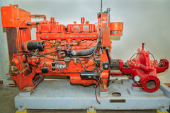 Detailed view of beautiful detailed old vintage retro machine tool, fire pump Stock Image
