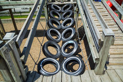 Detailed view of beautiful old used vehicle tires at Toronto park kids play ground Royalty Free Stock Images