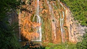 Detailed view of the beautiful waterfalls in Plitvice National Park stock video