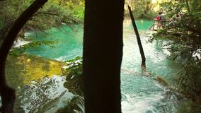 Detailed view of the beautiful waterfalls in Plitvice National Park, Croatia stock footage