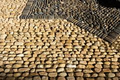 Close-up View of Light and Dark Pavement Cobbles, Mexico Stock Photo
