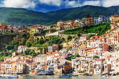 Detailed view of Chianalea di Scilla. Colourful sunny fishing village in Calabria, Italy royalty free stock photo