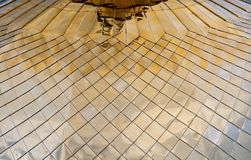 Detailed view of church golden dome. Reflection on metal. Russian architecture royalty free stock image