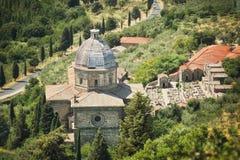 Detailed view of the Church of Santa Maria Nuova in Cortona, Tuscany, Italy Stock Images