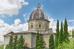 Detailed view of the Church of Santa Maria Nuova in Cortona, Tuscany, Italy Royalty Free Stock Image