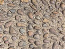 Detailed view of cobblestone pathway for use as background or wallpaper royalty free stock images