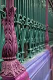 Detailed view of colourful wrought ironwork at Smithfield meat and poultry market in the City of London, UK. Detailed view of the colourful wrought ironwork at royalty free stock photo