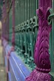 Detailed view of colourful wrought ironwork at Smithfield meat and poultry market in the City of London, UK. Detailed view of the colourful wrought ironwork at royalty free stock image