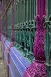 Detailed view of colourful wrought ironwork at Smithfield meat and poultry market in the City of London, UK. Detailed view of the colourful wrought ironwork at royalty free stock images