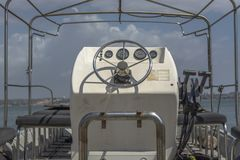 Detailed view of control panel on private boat royalty free stock image