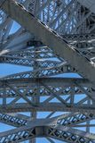Detailed view at the D. Luis bridge structure, bue sky as background. On Porto, Portugal royalty free stock photos