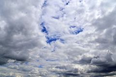 Detailed view on dark clouds forming before a storm. Seen in northern europe royalty free stock photos