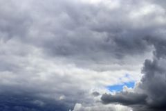 Detailed view on dark clouds forming before a storm. Seen in northern europe royalty free stock images