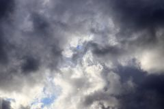 Detailed view on dark clouds forming before a storm. Seen in northern europe royalty free stock photo