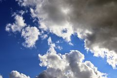 Detailed view on dark clouds forming before a storm. Seen in northern europe royalty free stock image