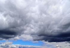 Detailed view on dark clouds forming before a storm. Seen in northern europe stock photos