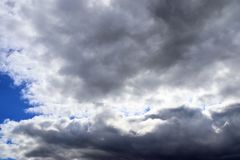 Detailed view on dark clouds forming before a storm. Seen in northern europe stock images