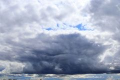 Detailed view on dark clouds forming before a storm. Seen in northern europe stock photo