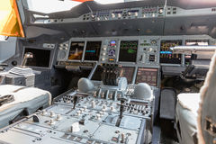 Detailed view of the dashboard and center console of the largest passenger aircraft Airbus A380 Royalty Free Stock Photos