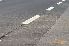 Detailed view on different symbols and lines painted on german streets. Detailed view on different symbols and lines painted on a german street royalty free stock photography