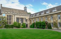 Grand view of one of the entrances to a college at the University of Cambridge, UK. royalty free stock photos