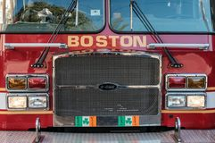 Boston Fire Department engine attending a call in the downtown area. Detailed view of the front of a Boston, MA fire truck showing great detail of the vehicle royalty free stock image