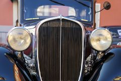 Vintage car front detail. Color image royalty free stock photography