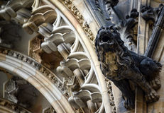 Detailed view on gothic mosaic of St. Vitus cathedral in Prague Stock Photos