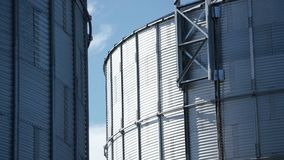 Detailed view of grain-drying complex construction stock video