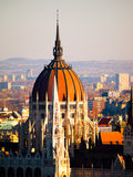 Detailed view of Hungarian Parliament historical building, aka Orszaghaz, with typical central dome, Budapest, Hungary Stock Photo
