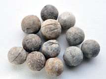 Detailed view on the lead musket balls Stock Images