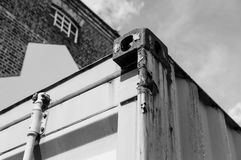 Detailed view of the locking system on a standard shipping container. royalty free stock photos