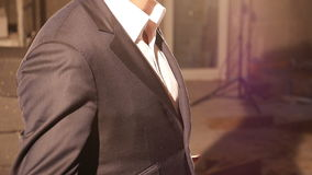 Detailed view of a man dressed in a suit stock video footage