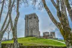 Detailed view of medieval Montalegre castle, dramatic sky as background. In Montalegre, Portugal royalty free stock images