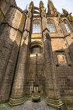 Detailed view on Mont Saint-Michel abbey facade in sun light, France Stock Photos