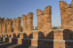 Detailed view of old brick bridge in Verona Stock Photos
