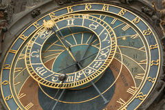 Detailed view of Old Town Hall Tower Prague astronomical clock Royalty Free Stock Photos