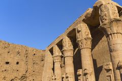 Detailed view of the pillars (Edfu, Egypt) Stock Images