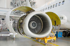 Detailed view of plane engine. Stock Photos