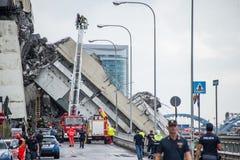The collapse of suspension bridge Morandi Ponte Morandi Stock Images