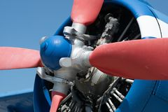 Detailed view of the propellor an old single-engine plane stock photography