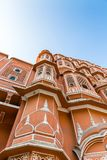Detailed view of red and pink sandstone facade of Hawa Mahal royalty free stock photo