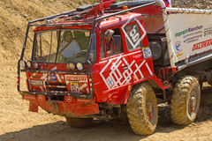 Detailed view of red truck in terrain Stock Image